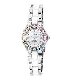 Armitron® Women's Multicolor Swarovski Crystal Accented Silvertone and White Ceramic Bracelet Watch