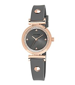 Armitron® Women's Swarovski Crystal Accented Rose Goldtone and Grey Silicone Strap Watch