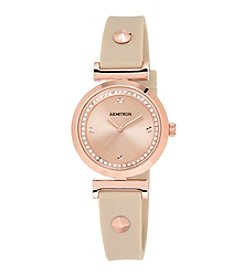 Armitron® Women's Swarovski Crystal Accented Rose Goldtone and Blush Pink Silicone Strap Watch