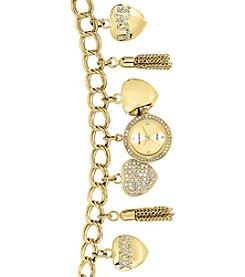 Armitron® Women's Swarovski Crystal Accented Goldtone Charm Bracelet Watch