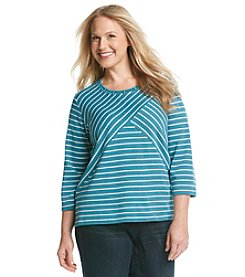 Alfred Dunner® Plus Size Lake Meade Splice Stripe Knit Top