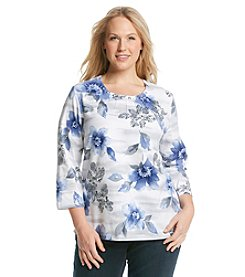 Alfred Dunner® Plus Size Lake Meade Stencil Floral Knit Top