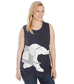 Lucky Brand® Plus Size Embroidered Elephant Top