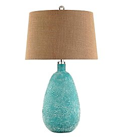 Stein World Blue Sandblast Glass Table Lamp