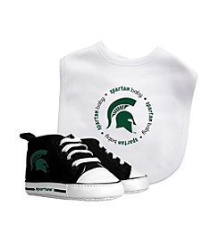 Michigan State University Baby Bib And Shoe Set
