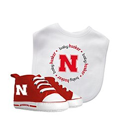 University of Nebraska Baby Bib And Shoe Set