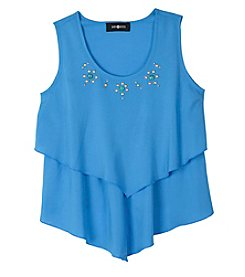 Amy Byer Girls' 7-16 Tiered Embellished Tank