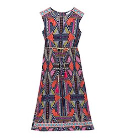 Rare Editions® Girls' 7-16 Banded Bottom Geo Maxi Dress