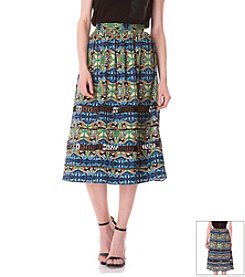 Sam Edelman® Printed Midi Skirt With Sheer Panels