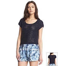 KIIND OF Short Sleeve Eyelet Sweater