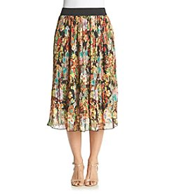 Studio West Floral Print Pleated Skirt