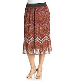 Studio West Multi Chevron Print Pleated Skirt