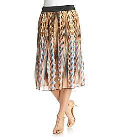 Studio West Abstract Print Pleated Skirt