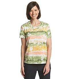 Alfred Dunner® Key Largo Floral Stripe Knit Top