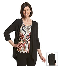 Alfred Dunner® Animal Magnetism Geometric Ruffled Layerd Look Top