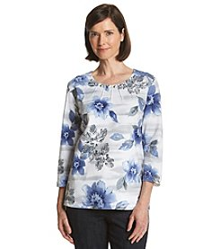 Alfred Dunner® Lake Meade Stencil Floral Knit Top