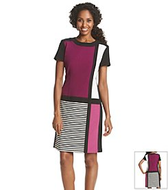 Chetta B Colorblock Crepe Dress