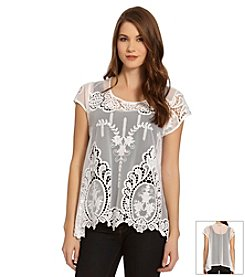 Karen Kane® Embroidered Net Top