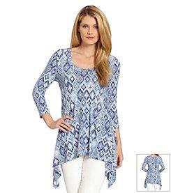 Karen Kane® Tile Print Handkerchief Top