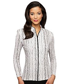Alex Evenings® Wavy Stripe Zip Blouse
