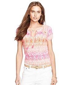Lauren Ralph Lauren® Smocked Ikat-Print Top