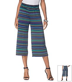 Rafaella® Stripe Print Loose Fit Cropped Pants