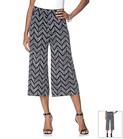 Rafaella® Chevron Print Loose Fit Cropped Pants