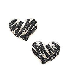 GUESS Silvertone Zebra Heart Earrings