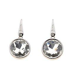 GUESS Silvertone Domed Disc Logo Earrings