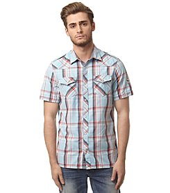 Buffalo by David Bitton Men's Short Sleeve Plaid Flap Pocket Button Down