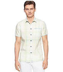 Calvin Klein Jeans Men's Short Sleeve Plaid Button Down