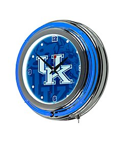 NCAA® University of Kentucky Chrome Double Rung Neon Clock - Fade