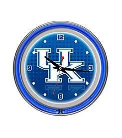 NCAA® University of Kentucky Chrome Double Rung Neon Clock - Reflection