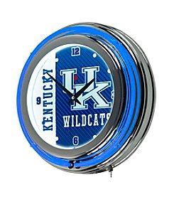 NCAA® University of Kentucky Chrome Double Rung Neon Clock