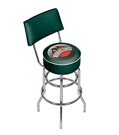 NCAA® University of Miami Bar Stool with Back - Honeycomb
