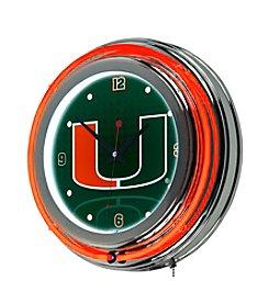 University of Miami Neon Clock - Reflection