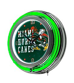 University of Miami Neon Clock - Smoke