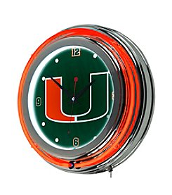 University of Miami Neon Clock - Wordmark