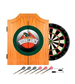 NCAA® University of Miami Wood Dart Cabinet Set - Honeycomb