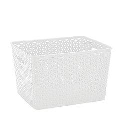 Simplify White Plastic Wicker Tote
