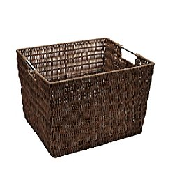 Simplify Coffee Faux Rattan Vertical Weave Tote