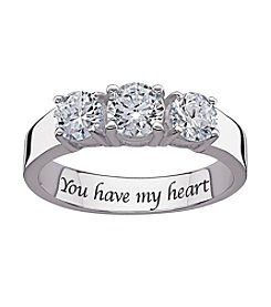 Sweet Sentiments Cubic Zirconia 3-Stone Engagement Ring in Sterling Silver