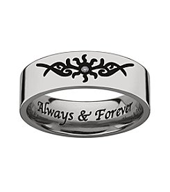 Sweet Sentiments Titanium Diamond Accent Wedding Band