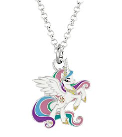 My Little Pony Silver Plated Girls' Celestia White Unicorn Pendant Necklace