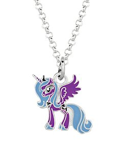My Little Pony Silver Plated Girls' Luna Purple Unicorn Pendant Necklace