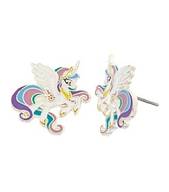 My Little Pony Silver Plated Girls' Celestia White Unicorn Stud Earrings