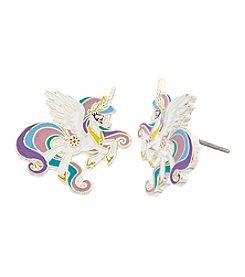 My Little Pony Silver Plated Girls' Celestia White Unicorn Stud Earrings