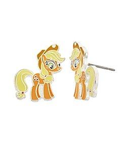 My Little Pony Silver Plated Girls' Apple Jack Stud Earrings