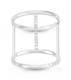 Sterling Silver Cubic Zirconia H Ring