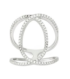 Sterling Silver Cubic Zirconia Double C Ring